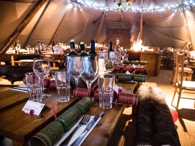 The Three Crowns Inn Christmas tipi party